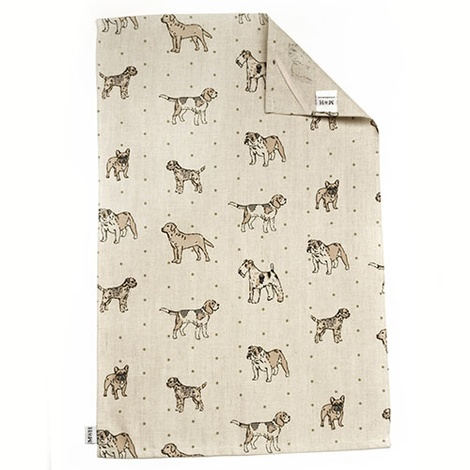 Dogs Linen Tea Towel - Natural 2
