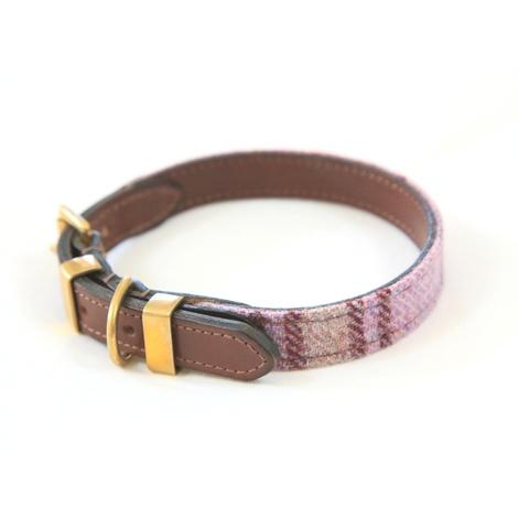 The Cromwell Pink Shetland Wool Dog Collar