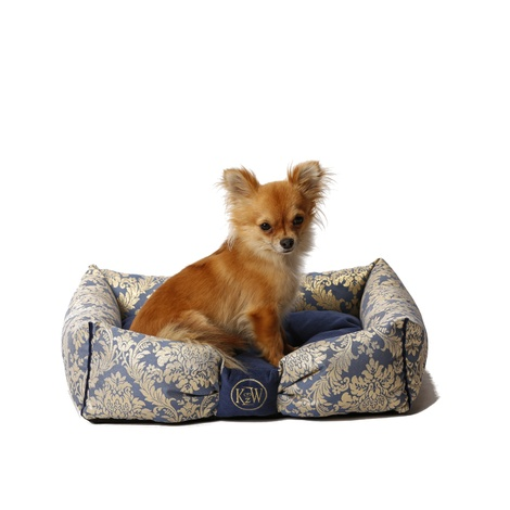 Chien Parisien Dog Bed – Sapphire Blue & Gold