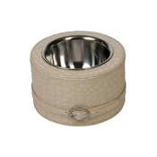 Diva Dog - Beige Leather Crocodile Belt Bowl