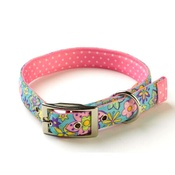 Yellow Dog - Flower Power on Pink Polka Collar Uptown Range