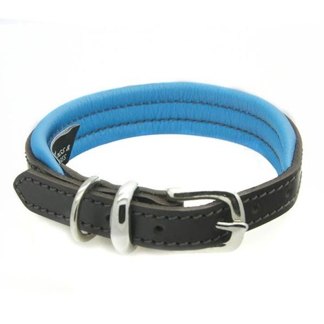 D&H Colours Leather Collar - Blue