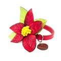 Red Poinsettia Dog Collar