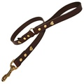 Chocolate Brass Hearts Classic Leather Dog Lead
