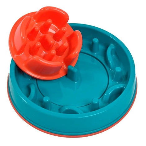 2 in 1 Anti Gobble Feeder and Interactive Game - Teal 2