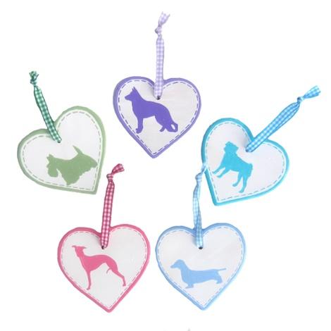 Dog Breed Ceramic Heart - Pink 2