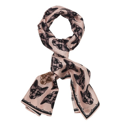 Long Fox Print Silk Scarf in Pink