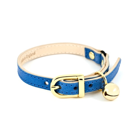 Blue Leather Cat Collar 2