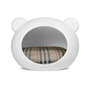 GuisaPet - Small White Dog Cave with Tartan Cushion