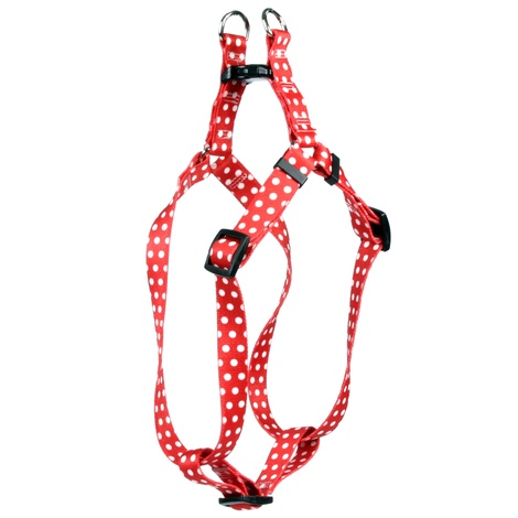 Red Polka-Dot Step-In Dog Harness