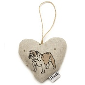 Mutts & Hounds - Dogs Linen Lavender Heart Natural - Bulldog