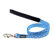 Red Dingo Patterned Dog Lead - Turquoise/White Stars