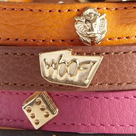 Woof Leather Dog Collar - Pink 4