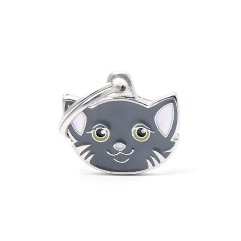 Cat Engraved ID Tag – Grey