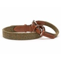 Forest Green Tweed & Tan Leather Collar  2