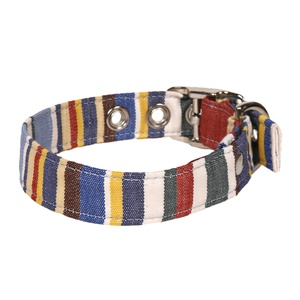Blue Deckchair Stripe Fabric Dog Collar