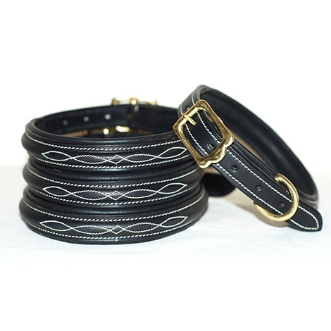 Embroidered Premium Leather Dog Collar in Black