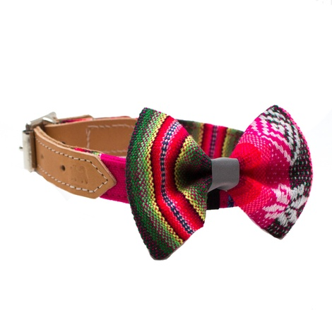 Inca Pink Dog Bow Tie 2