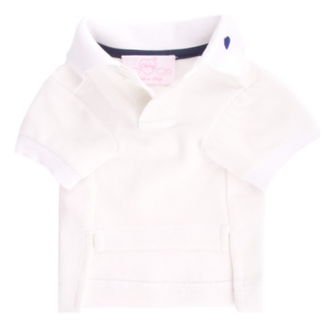 Dog Clothing White & Blue Polo Tee