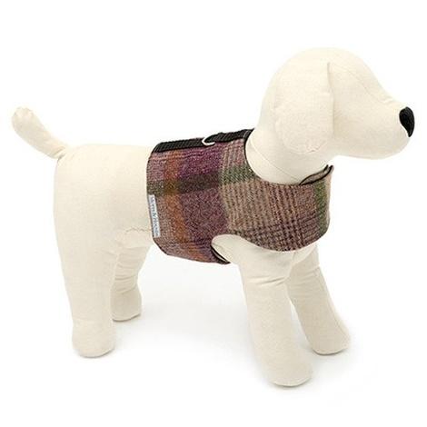 Grape Check Tweed Dog Harness 3
