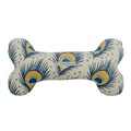 Peacock Linen Squeaky Bone Toy