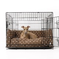 Dog Crate Mattress & Bed Bumper Set - Dotty Chocolate