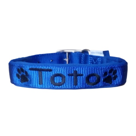 Personalised Embroidered Dog Collar – Blue 4