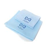 PetsPyjamas - Personalised Baby Blue Bone Set - Classic Font