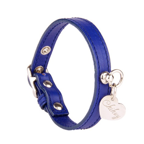 Sea Blue and Silver Leather Collar