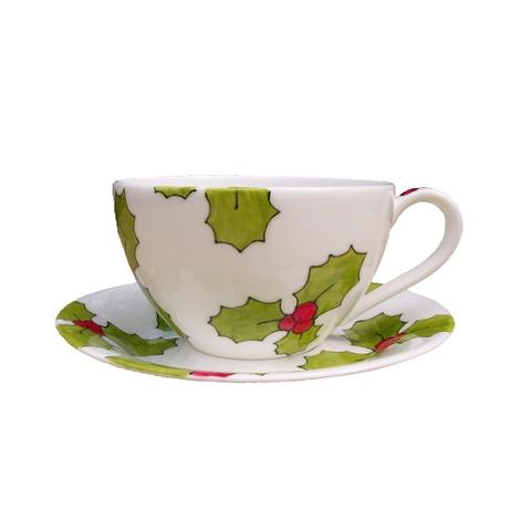Holly & Berry Teacup & Saucer Set