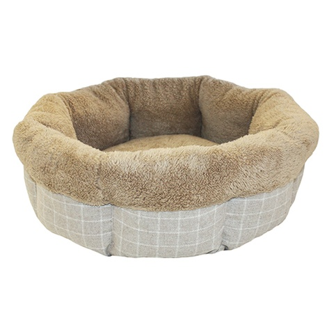 "Bailey Round Bed 24"" - Grey Check & Brown"