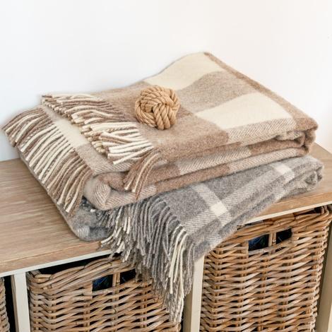 Slate Windowpane Wool Blanket  3