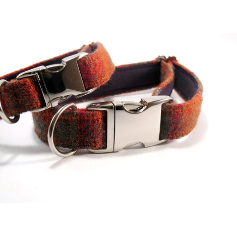 Orange & Olive Harris Tweed Dog Collar