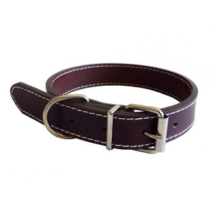 Traditional Plain Brown Leather Dog Collar