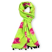 Pugs Might Fly - Biddy Pug Scarf - Green with Neon Pink Pugs