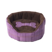 House of Paws - Tweed Bone Oval Dog Bed – Purple