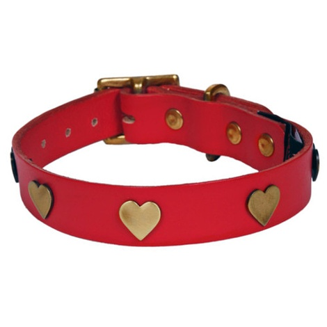 Brass Hearts Studs Leather Collar - Red