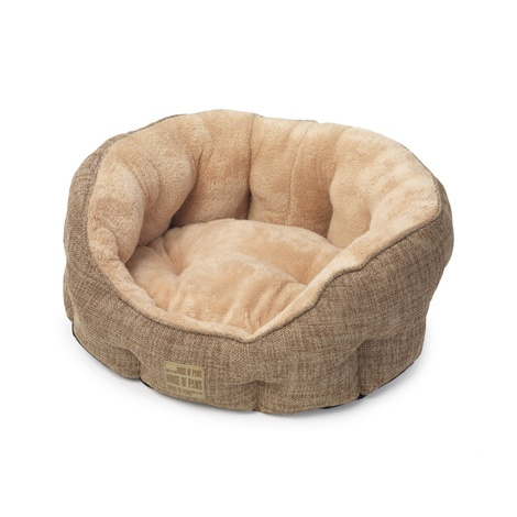 Natural Hessian Oval Dog Bed 3