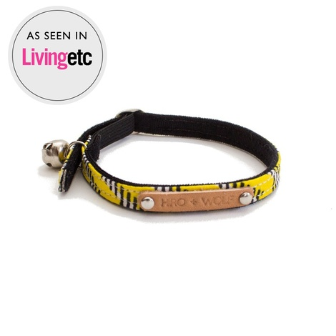 Yellow Zig Zag African Print Cat Collar