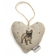 Mutts & Hounds - Dogs Linen Lavender Heart Natural - French Bulldog