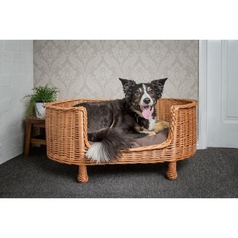 Luxury Wicker Oval Pet Bed Settee with Dark Cushion 2