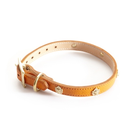 Woof Leather Dog Collar - Orange