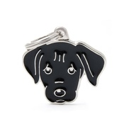 My Family - Labrador Engraved ID Tag – Black