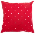 Cranberry Star Cotton with Red Ticking Stripe Cushion