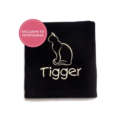 Personalised Cat Blanket - Black