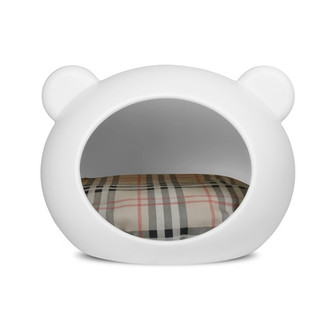 Medium White Dog Cave with Tartan Cushion