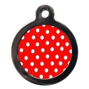 Polka Dot Pet ID Tag - Red