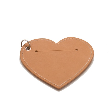 Leather Heart Poo Bag Pouch - Tan 3