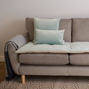 The Lounging Hound - Lustre Velvet Sofa Topper - Seaspray