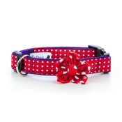 Pet Pooch Boutique - Red Polka Dot Collar with Flower Accessory